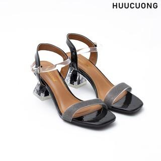 Giày Sandal Cao Gót HUUCUONG Thời Trang Quai Mảnh Kim Tuyến Phối Mica Trong Suốt Gót Vuông Basic - CG84