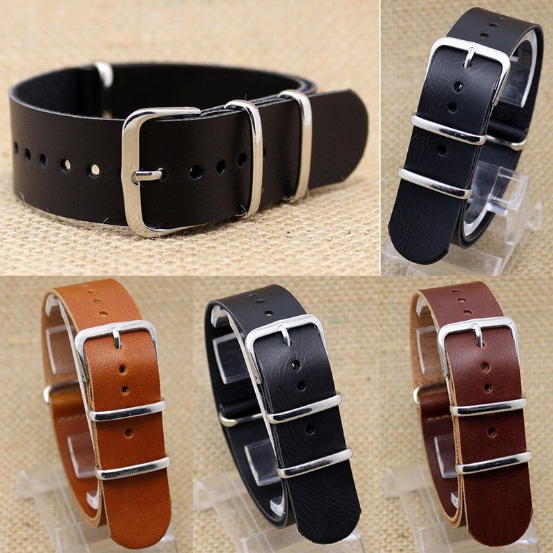 FG Leather Watch Strap Wrist Pin Stainless Steel Band Mens