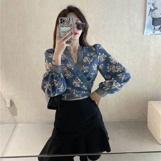 Pretty ❀ French Women Puff Sleeve Blouse Floral Lace Chiffon Lace-up Tunic Shirt Top ❃