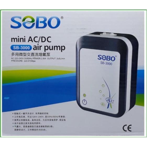 SOBO SB-3000 ปั๊มออกซิเจน มีแบตเตอรี่สำรองไฟ