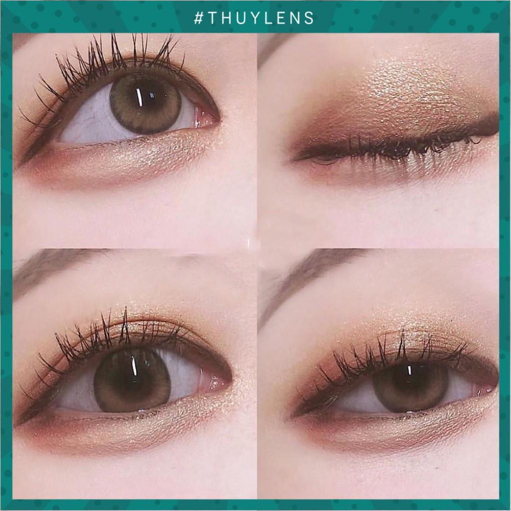 Kính áp tròng tự nhiên brown/gray có viền cho mắt to tròn