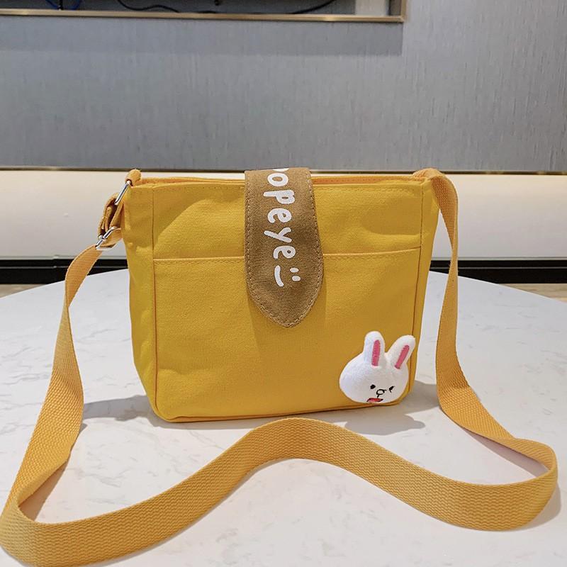 Túi đeo chéo Canvas nhỏ gọn tiện lợi - Túi đi học thiết kế phong cách Hàn Quốc xinh xắn