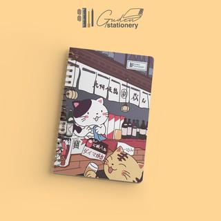 Sổ tay gáy xoắn mẫu Mèo Nhật Bản 160 trang cỡ A5_Mẫu mèo nằm