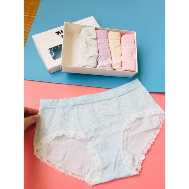 Hộp 5 quần lót nữ MUJI cực xinh chất cotton viền ren HÀNG TỐT