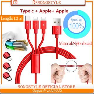 Dây cáp sạc cổng cắm Lightning USB Micro USB Type-C 3 trong 1 cho iPhone X Android Samsung S10+