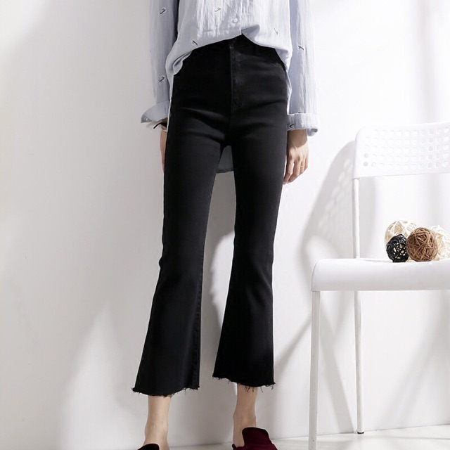[Mã WASEPRN hoàn 20% xu đơn 99k] Quần Jeans Đen Ống Loe