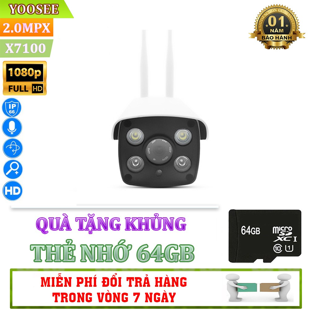 Camera Giám Sát Ngoài Trời Yoosee IP X7100 - Mắt Camera 2.0 Mpx - Tặng Kèm Thẻ Nhớ Micro SD 64GB