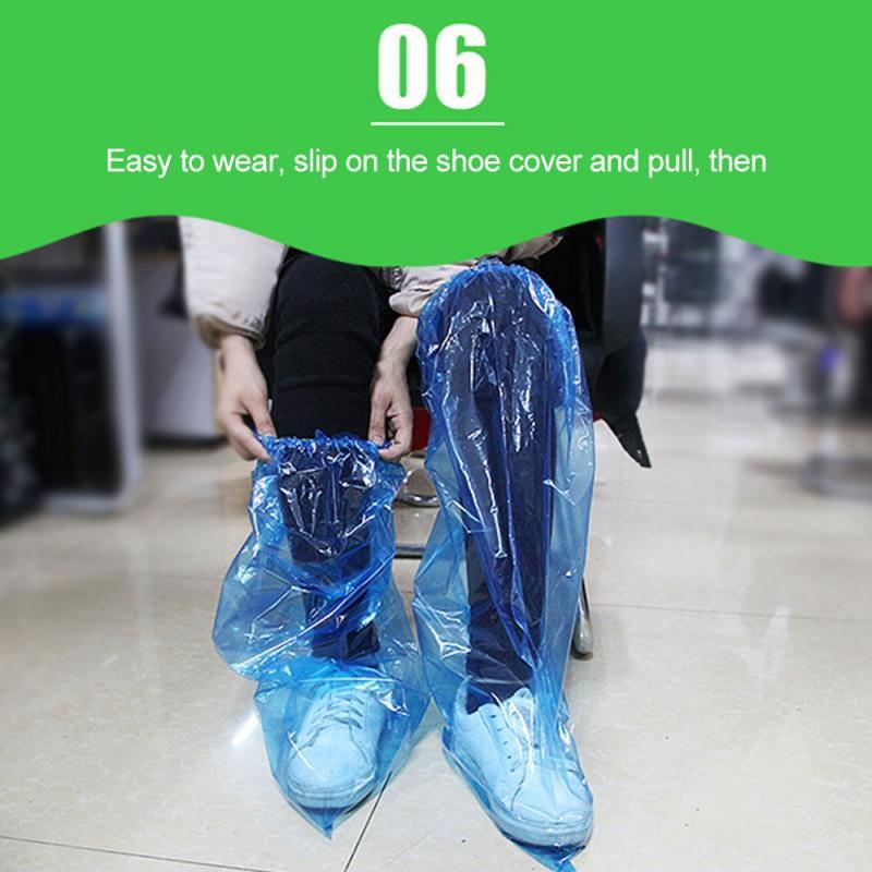 Set 50 Cặp Bọc Giày Cổ Cao Bằng Nhựa Chống Nước Chống Trượt Dùng Một Lần