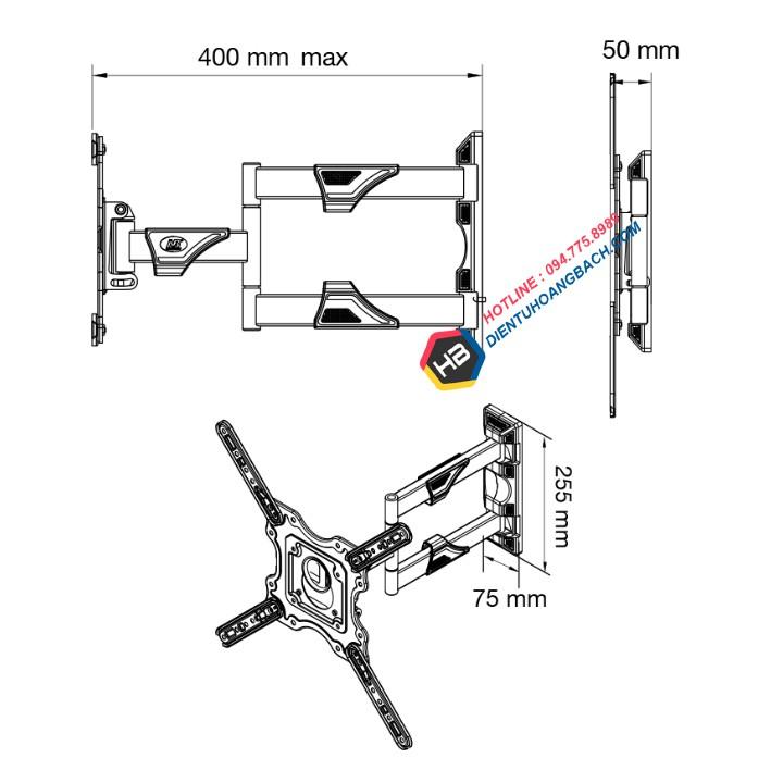 [Chính Hãng] Giá treo tivi xoay đa năng NB P4 32 - 55 inch - Xoay mọi góc độ