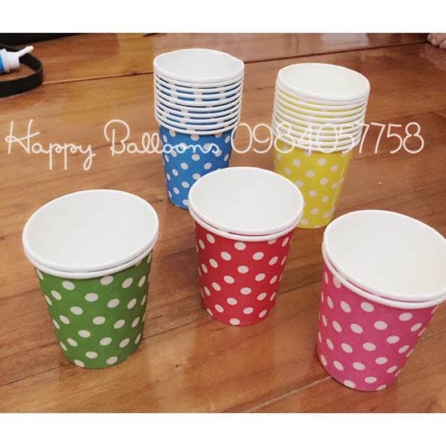 Set 10 cốc giấy chấm bi