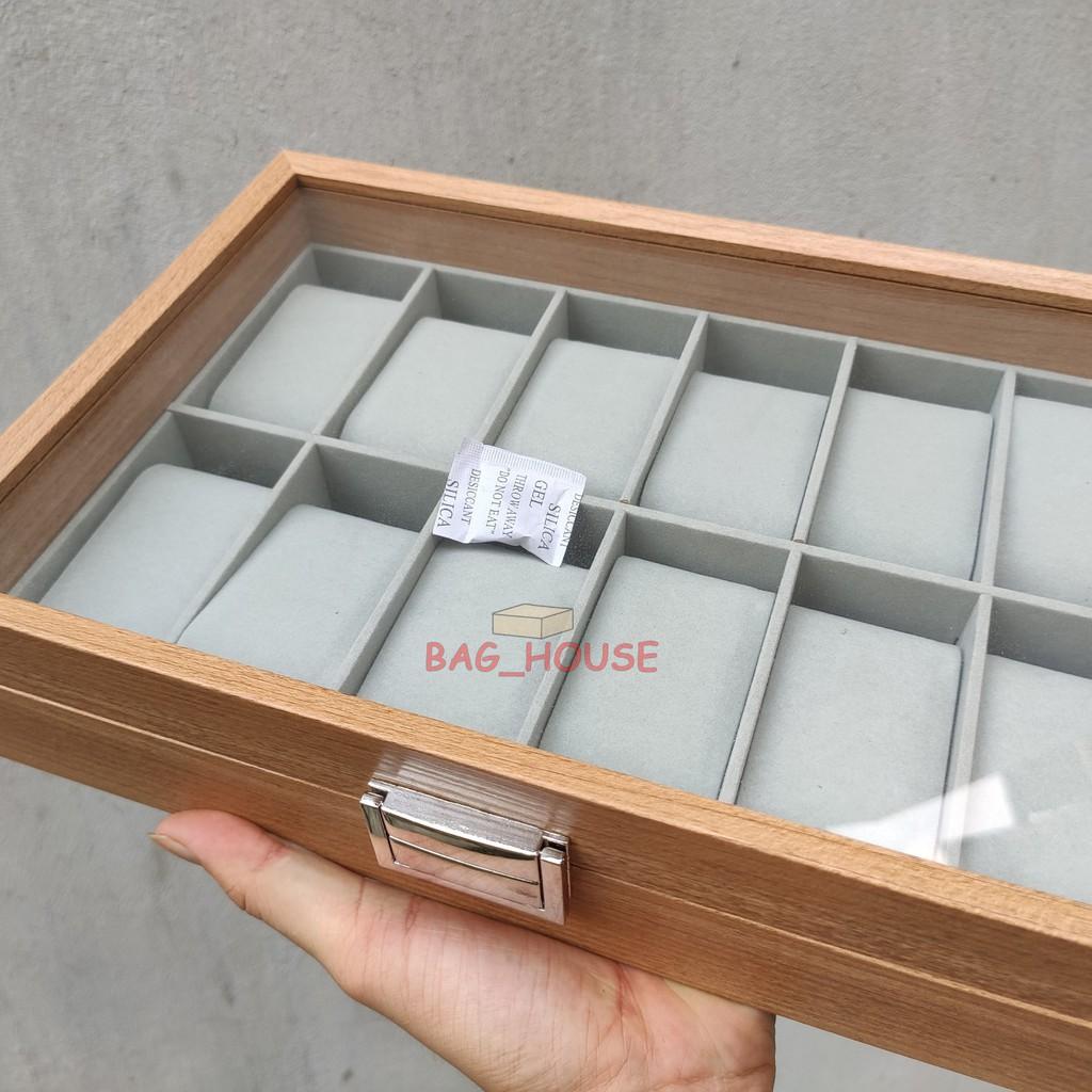 Hộp đựng đồng hồ 🔥Freeship🔥 Hộp đựng 12 đồng hồ bằng gỗ màu nâu