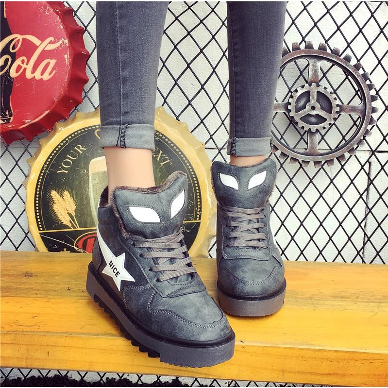รองเท้าบู๊ทส์มาร์ตินข้อสั้นแต่งขนเฟอ สำหรับผู้หญิง