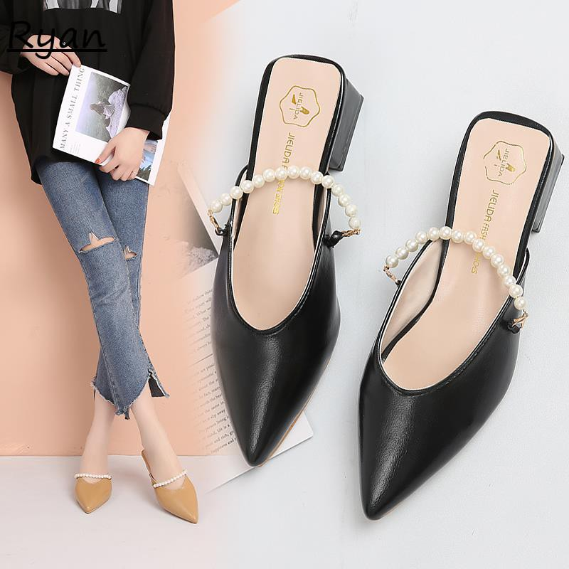 Sexy beaded pointed toe cap half slippers wild thin and thick with Mules shoes