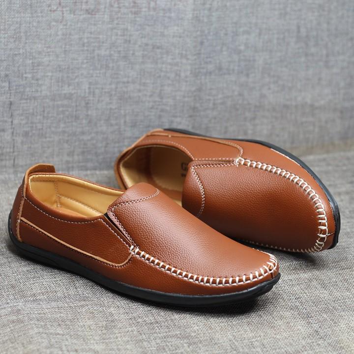 Giày lười nam da mềm đế cao su được khâu chắc chắn L13