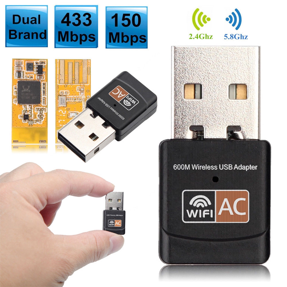 AC601M Dual Band 600Mbps 2.4G / 5G Hz Wireless Lan Card USB PC WiFi Adapter 802.11AC
