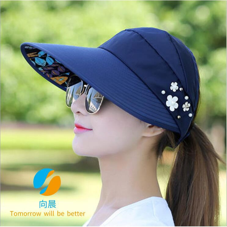 New Korean Summer Lady Sun Hat Outdoor Pearl Empty Top Hat B