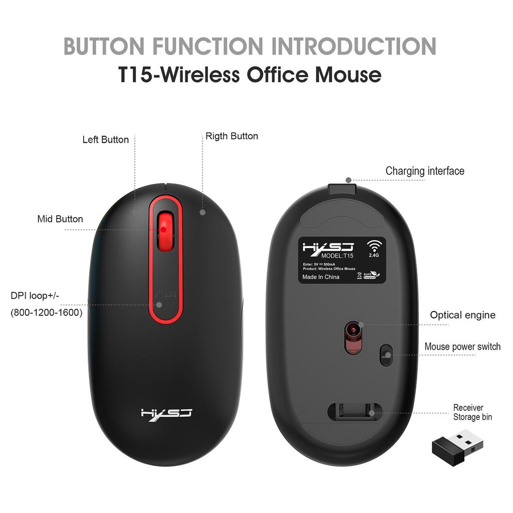 chuột không dây Ms Hxsj T15 2.4g 1600dpi