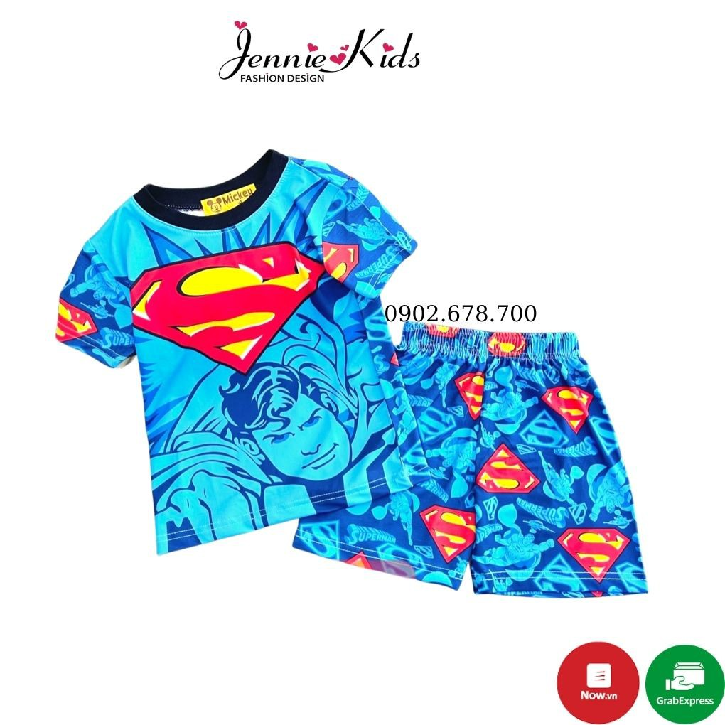 Đồ bộ Bộ bé trai siêu nhân vải 3D mềm mịn thấm hút mồ hôi tốt J341
