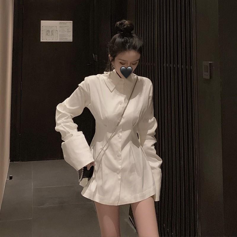 โบว์ผูกเสื้อฤดูใบไม้ร่วงหญิงบน 2019 การออกแบบความรู้สึกเสื้อเชิ้ตแขนยาวขนาดเล็กในส่วนยาวของเสื้อ