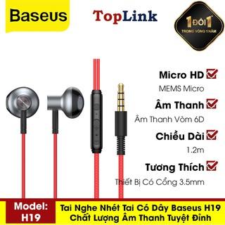 Tai Nghe Nhét Tai - Tai Nghe Có Mic Đàm Thoại Baseus H19 Âm Thanh Nổi 6D, Jack Cắm 3.5mm - TopLink thumbnail