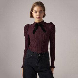 2020 autumn and winter New Stand Collar puff sleeves jacquard mesh sweater 05802108660 5802108