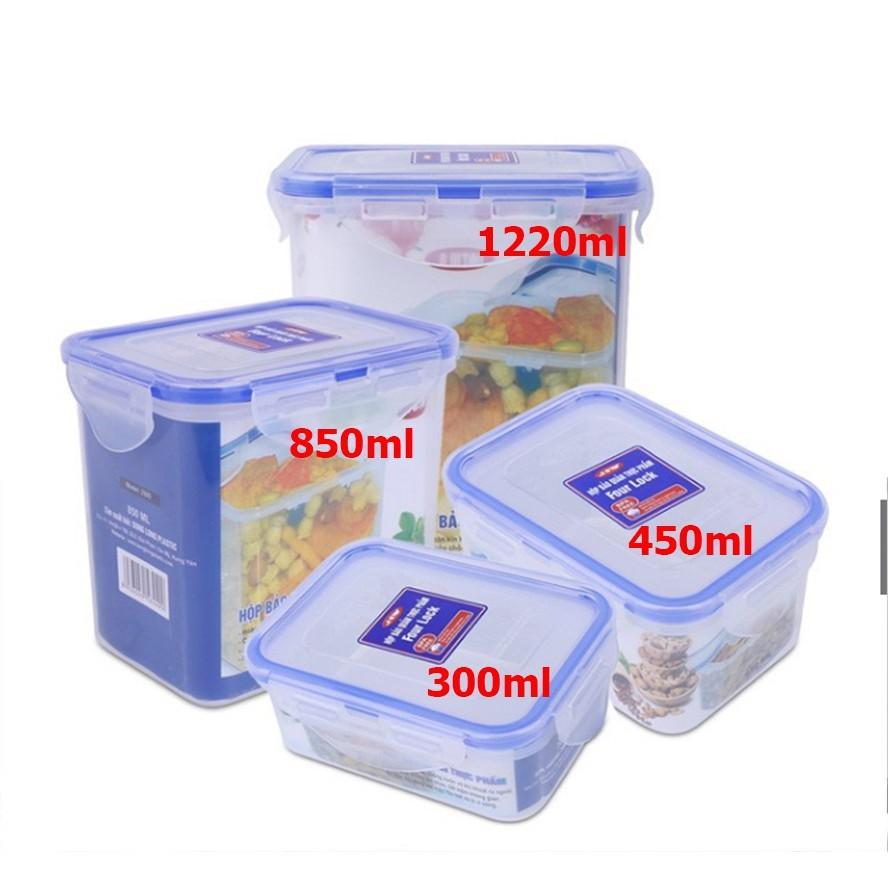Hộp bảo quản thực phẩm 4 khóa bằng nhựa sử dụng được trong lò vi sóng, hình chữ nhật - Hàng chính hãng Song Long