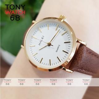 Đồng hồ nữ Halei dây da nâu mặt số vạch chính hãng Tony Watch 68