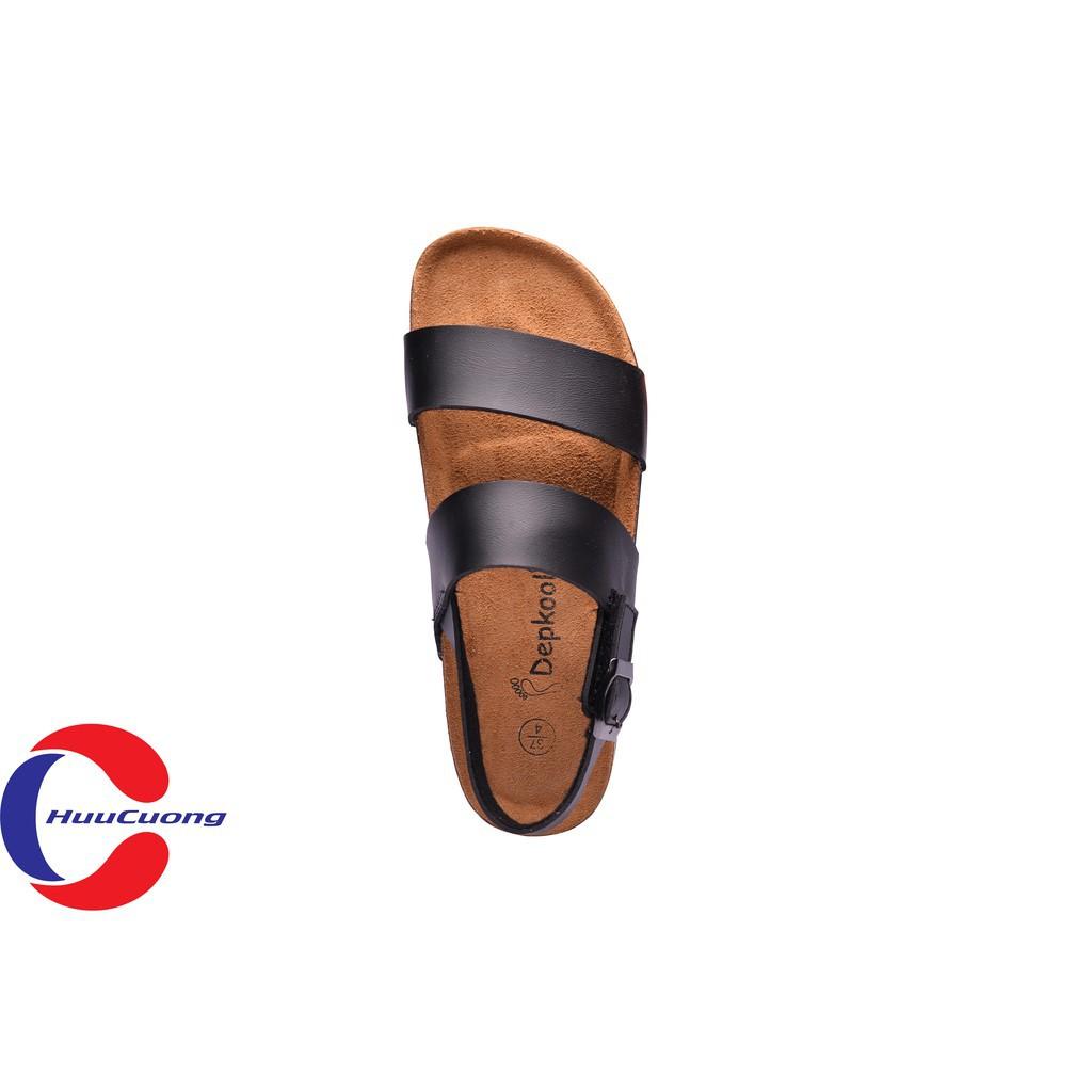 Hình ảnh Sandal unisex thời trang HuuCuong - 2 quai đế trấu( đen)-3