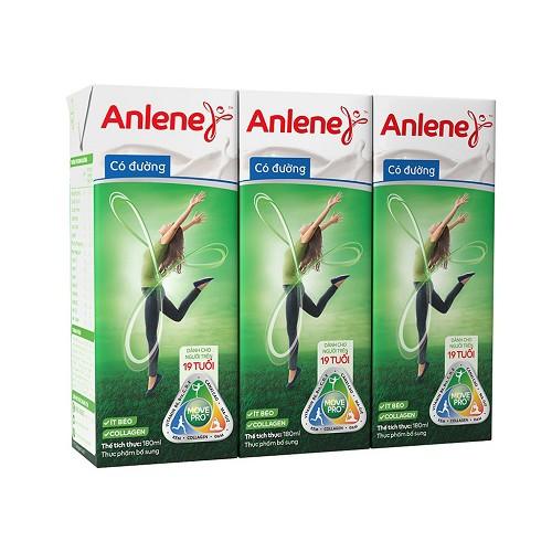 Lốc sữa bột pha sẵn Anlene Movepro có đường hộp 180ml