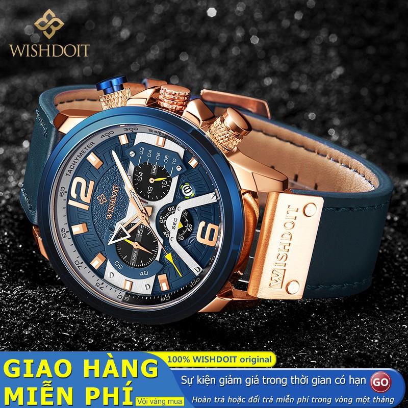 Đồng hồ đeo tay nam WISHDOIT dạ quang máy thạch anh dây da chống nước ba mặt đồng hồ đa năng phong cách thể thao