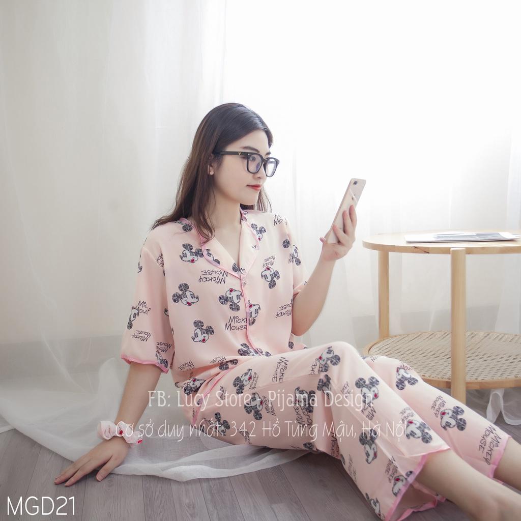Mặc gì đẹp: Gọn tiện với Đồ ngủ bò sữa pijama - Bộ ngủ nữ vải lụa mango hàng thiết kế cao cấp siêu hót chất mát không nhăn bộ ngủ mặc ở nhà