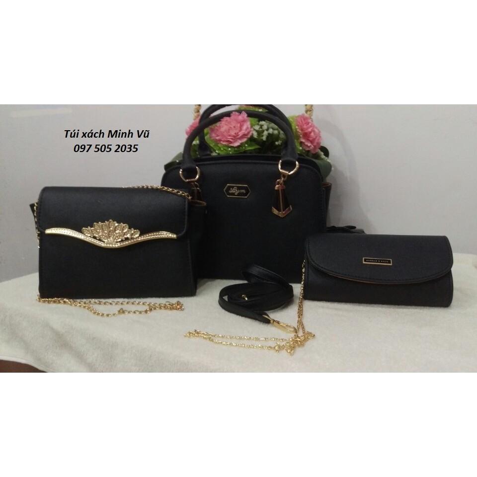 Bộ 3 túi xách nữ vương miện màu đen