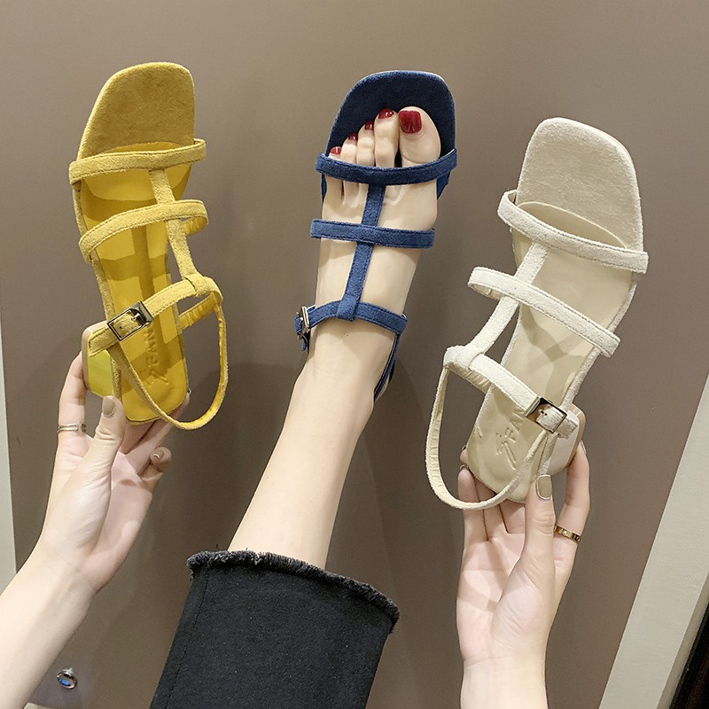 A word with sandals, female fairy, Korean version of the simple thin belt, open toe shoes, heels with high heels