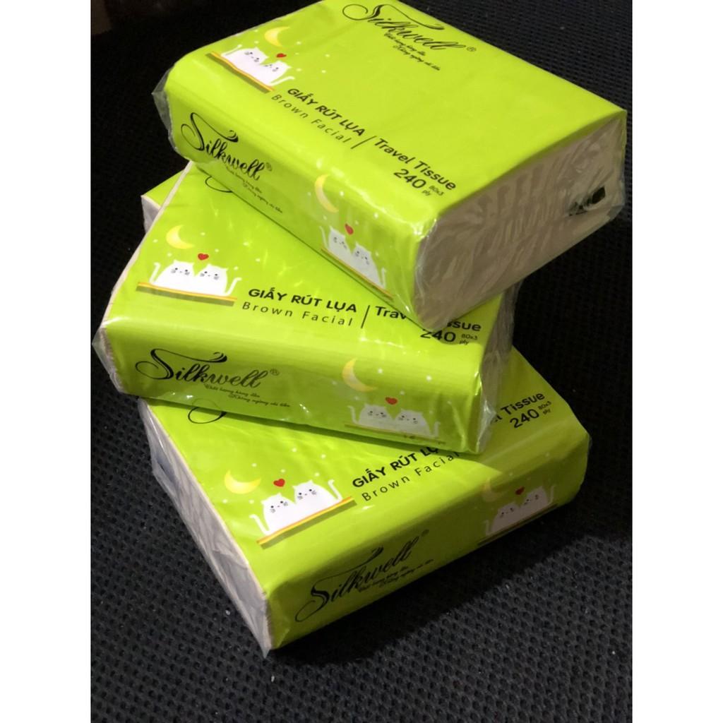 Combo 3 gói khăn giấy bỏ túi 240 tờ Silkwell tiện lợi (hàng 3 lớp)