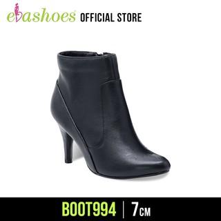 Boot Cao Gót Mũi Nhọn Da Bò 7cm Evashoes - Boot994 (Màu Đen)