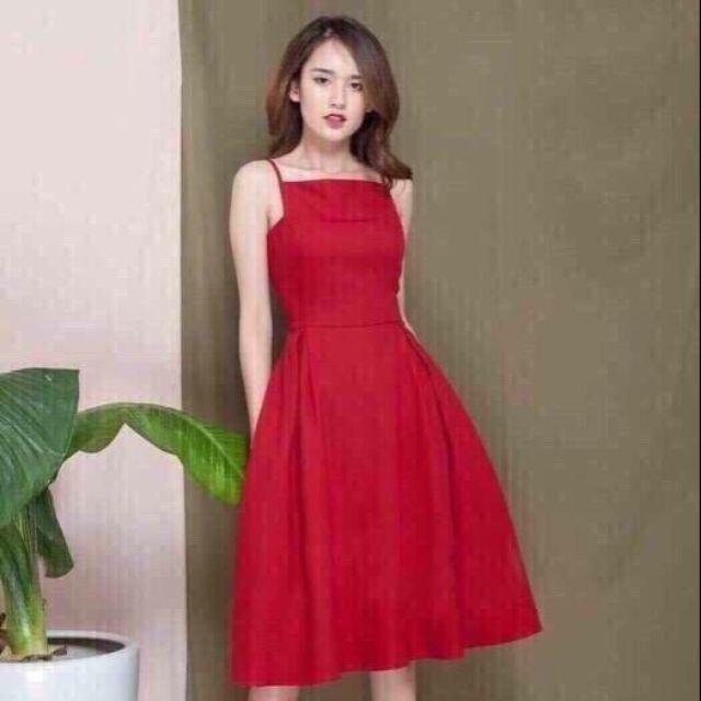 Đầm maxi đỏ nơ lưng cao cấp