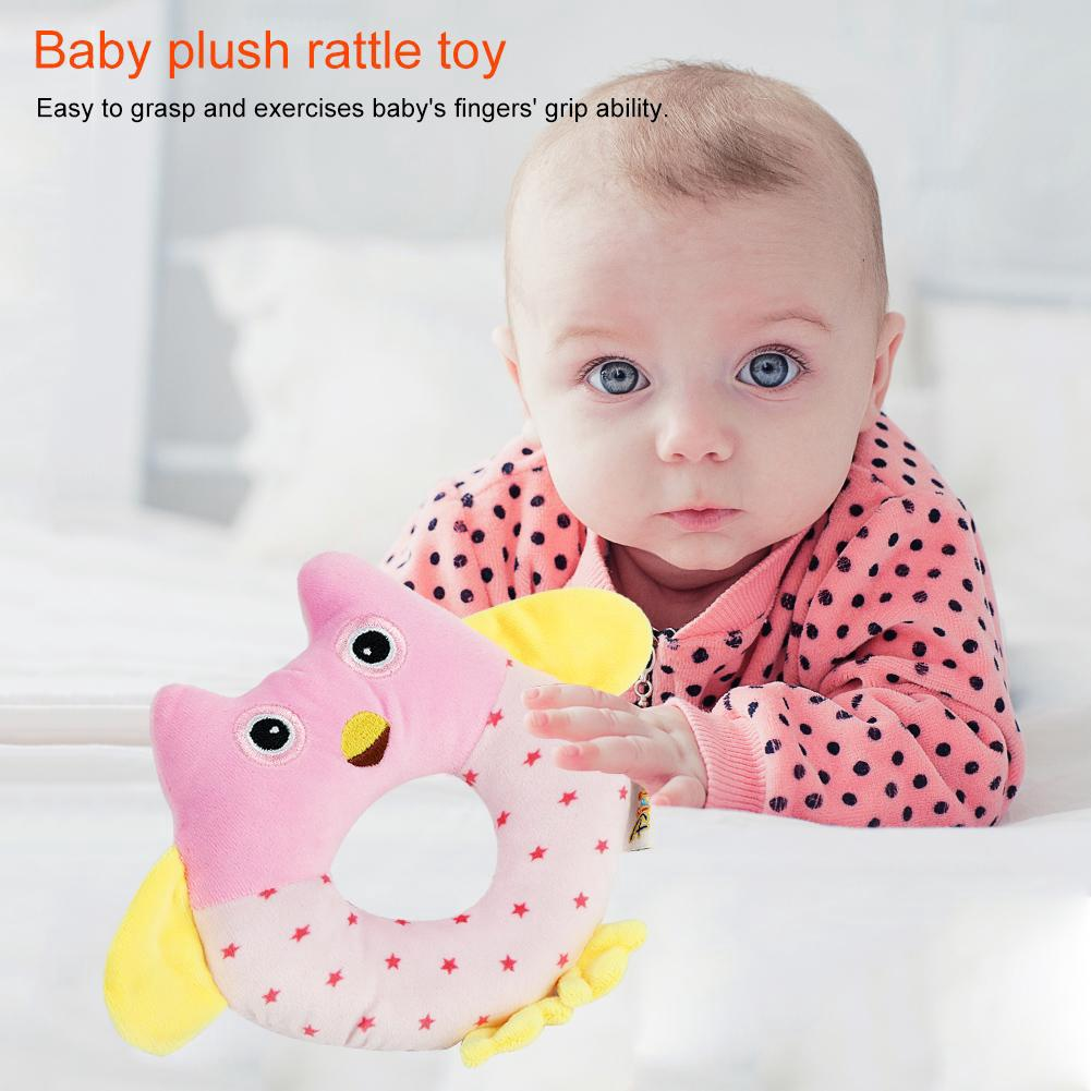 Goonshopping Cute Owl Shaped Baby Hand Bell Rattle Stick Infant Children Funny Plush Toys