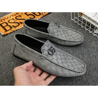 Giày Lười Nam, Giày Mọi Nam Gucci Phong cách ( Màu Xám)