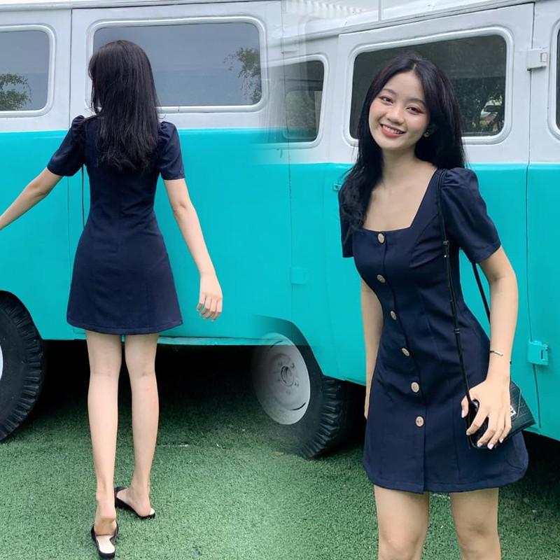 Mặc gì đẹp: Sang chảnh với Đầm nữ dự tiệc dáng chữ A tay phồng cổ vuông 6 nút gỗ Gumi trẻ trung sang trọng - GM2067