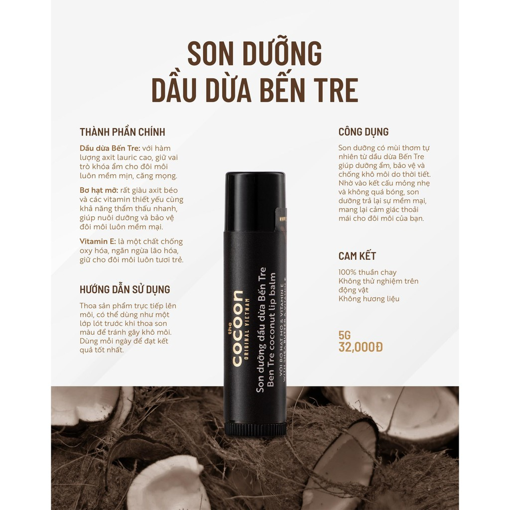 Son Dưỡng Dầu Dừa Bến Tre Cocoon 5g | Shopee Việt Nam