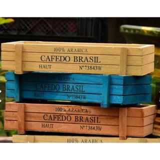 Hộp / Chậu gỗ trồng cây in chữ hình chữ nhật mini - 23 x 8 cm - Phụ kiện trang trí lưu trữ hoặc trồng xương rồng sen đá
