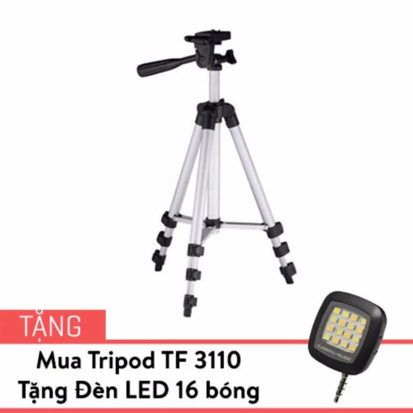 Chân Tripod TF 3110 cho điện thoại màu Bạc tặng Đèn LED