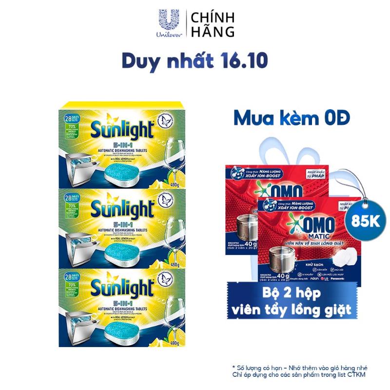[Mã FMCGMALL giảm 8% đơn từ 250K] Combo 3 Hộp Viên Rửa Chén Bát Sunlight 5 in 1 Dành Cho Máy Rửa Chén (490g/Hộp)