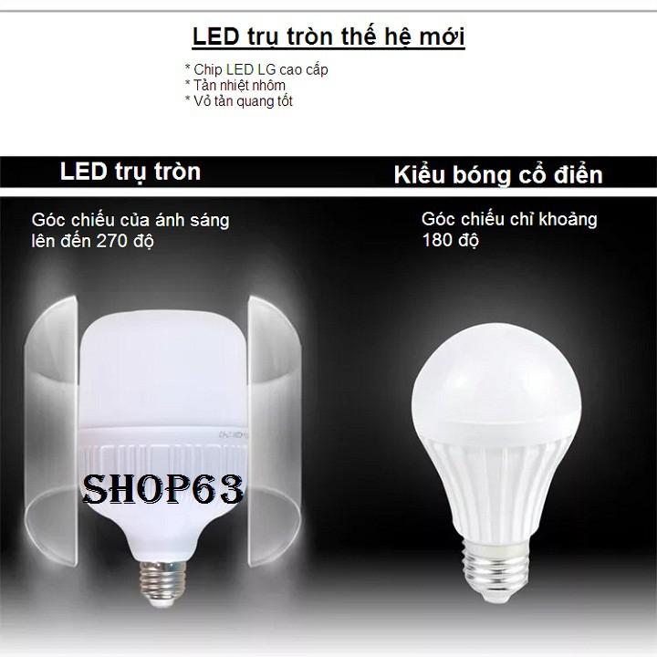 Bóng đèn LED trụ tròn 20W 30W ánh sáng trắng (hàng cao cấp loại siêu sáng - tản nhiệt nhôm dày - bao đổi trả)
