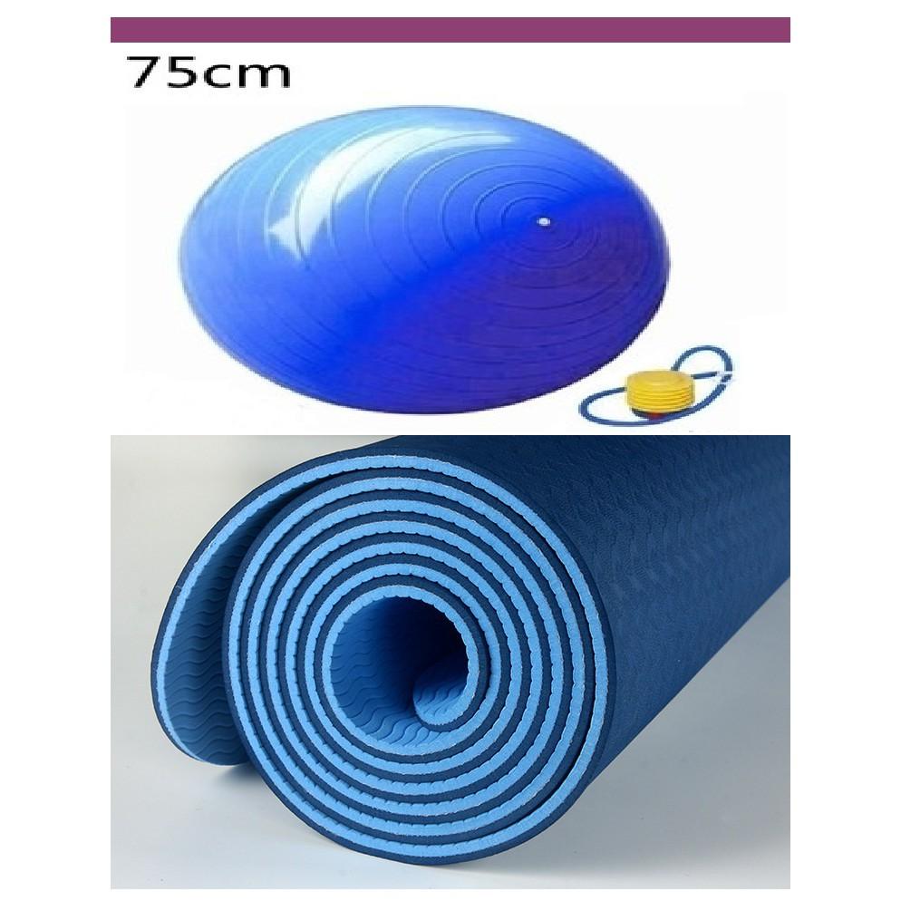 COMBO Thảm PTE 6mm 1 - 2 lớp +Bóng yoga 75cm giá cực hót