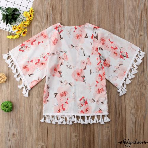 YJ★Baby Girls Kids Clothes Boho Kimono Jacket Casual Loose Blouse Beach Cover Up