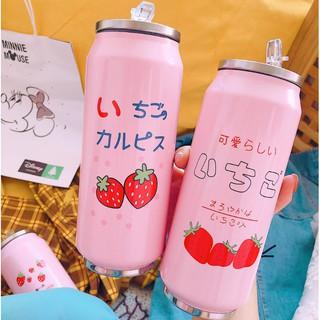 Bình Giữ Nhiệt Nhật Bản - Bình Uống Nước Giữ Nhiệt Hồng Phấn Hình Dâu Tây Có Sức Nhiệt Lớn Dung Tích 500ml