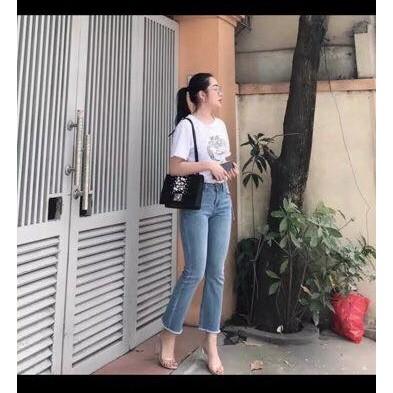 QUần jeans 9 tấc nữ ống loe nhẹ màu nhạt