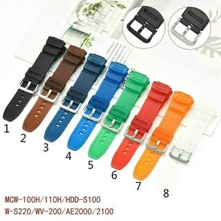 Dây Đeo Silicon Chống Nước Chất Lượng Cao Cho Đồng Hồ Casio Mcw-100H 110h W-S220 Hdd-S100