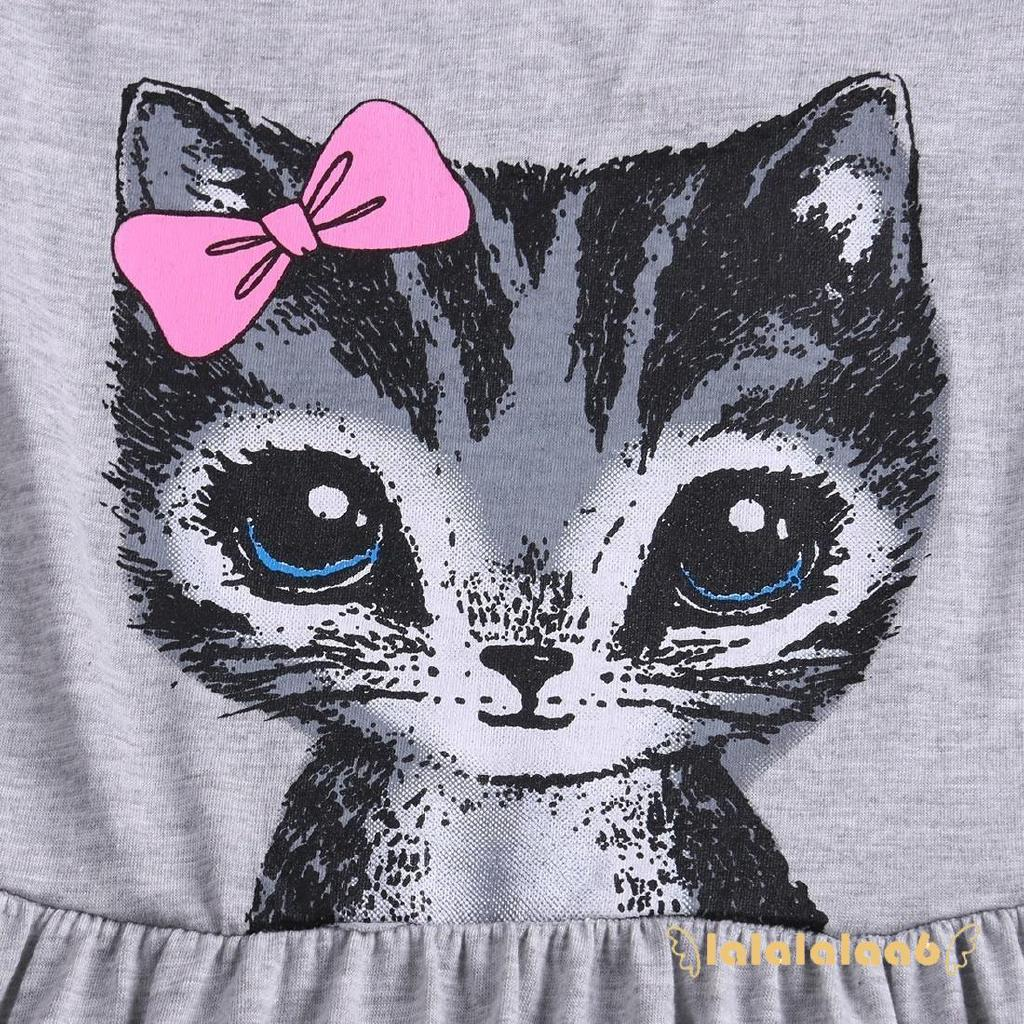 Đầm suông tay ngắn vải cotton mềm mại in hình mèo hoạt hình dễ thương cho bé gái